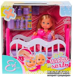 Кукла Ева в кроватке с игрушкой и аксессуарами Simba (5736642)