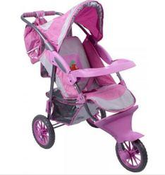 Детская коляска для кукол Gulliver трехколесная с сумкой и козырьком для куклы (розово-серебристая с яблочком)