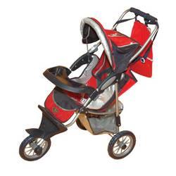 Детская коляска для кукол Gulliver трехколесная с сумкой и козырьком для куклы (красная с яблочком)