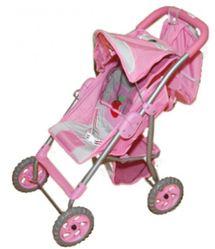 Детская коляска для кукол Gulliver с козырьком и сумочкой для куклы (розово-серебристая с яблочком)