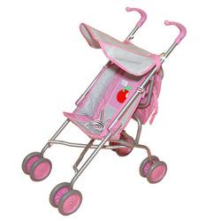 Детская коляска Gulliver прогулочная для куклы с сумкой (розово-серебристая с яблочком) со светящимся логотипом